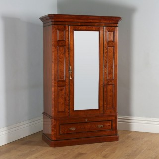Antique English Victorian Gothic Pitch Pine Wardrobe Cupboard Linen Press (Circa 1890)