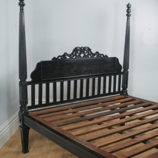 Antique 6ft Colonial Raj Regency Style Victorian Anglo Indian Super King Size Four Poster Bed (Circa 1850)