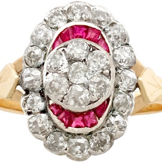 1.32 ct Diamond and 0.18 ct Ruby, 14 ct Yellow Gold Dress Ring - Antique Victorian