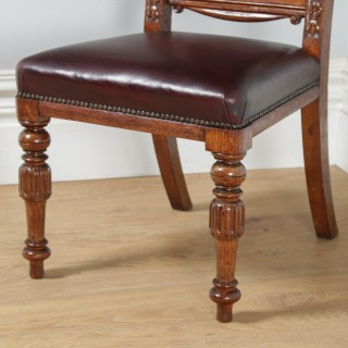 Antique English Set of Eight Victorian Oak & Upholstered Burgundy Red Leather Carved Boardroom Dining Chairs (Circa 1880)