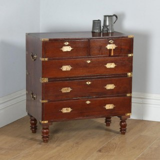 Small Antique Victorian Colonial Anglo Indian Teak & Brass Military Campaign Chest of Drawers (Circa 1840)
