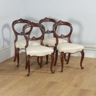 Antique Scottish Victorian Set of Four Mahogany Balloon Back Dining Chairs (Circa 1860)