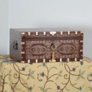 Antique Victorian Burmese Teak & Brass Chiming Colonial Campaign Mandalay Writing Jewellery Sewing Box (Circa 1880)