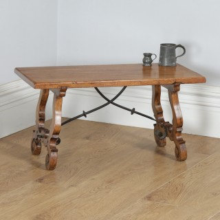 Antique Spanish Basque Oak & Chestnut Rectangular Occasional Side Coffee Table (Circa 1920)