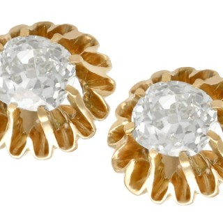 1.13ct Diamond and 14ct Yellow Gold Stud Earrings - Antique Circa 1900