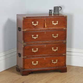 Small Antique English Victorian Teak & Brass Military Campaign Chest of Drawers (Circa 1830)