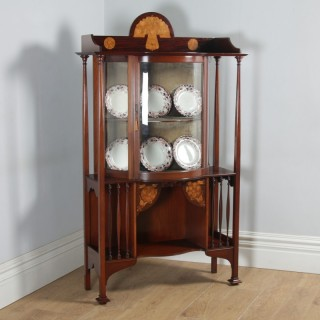Antique Edwardian Art Nouveau Mahogany & Satinwood Inlaid Glass Display Cabinet by D. Hill Carter & Co. of West Hartlepool (Circa 1910)