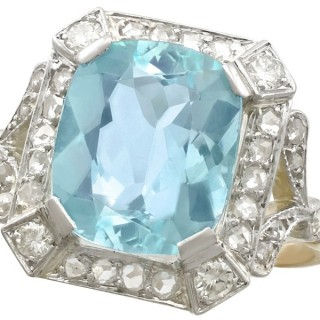 5.38ct Aquamarine and 0.65ct Diamond, 18ct Yellow Gold Dress Ring - Antique Circa 1925