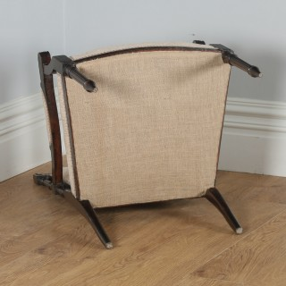 Antique French Louis XVI Style Walnut Upholstered Salon Occasional Armchair (Circa 1880)