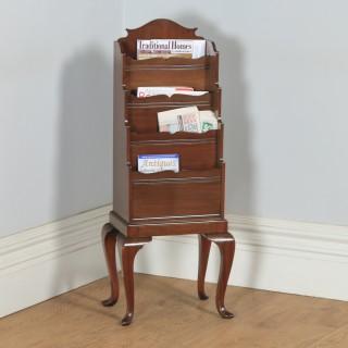 Antique English Edwardian Mahogany Waterfall Bookstand / Shelf / Rack / Tidy (Circa 1910)