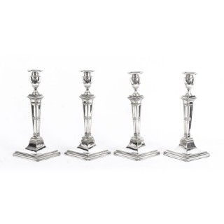 Antique Set of 4 Silver Plated Candlesticks by James Dixon & Sons Ca 1875 19th C