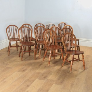 Antique English Set of 12 Twelve Victorian Ash, Beech & Elm Windsor Stick & Hoop Back Kitchen Dining Chairs (Circa 1900)