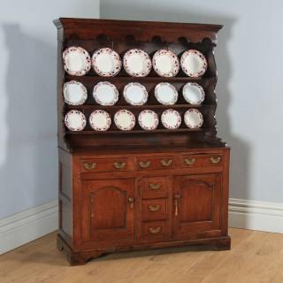 Antique Welsh Snowdonia Georgian Oak Joined High Dresser Base & Rack Sideboard (Circa 1740)