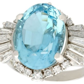 7.75ct Aquamarine and 1.65ct Diamond, Platinum Cocktail Ring - Vintage Circa 1990