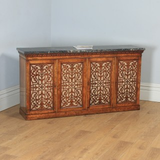 Antique English Victorian Burr Walnut & Marble Sideboard Bookcase Cabinet Cupboard (Circa 1850)
