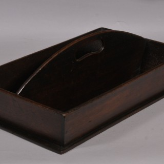 Antique Treen 19th Century Solid Mahogany Two Division Cutlery Tray