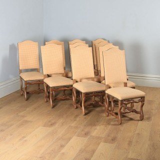 Antique Set of Ten 10 French Os De Mouton Upholstered High Back Beech Dining Chairs Including Recovering (Circa 1930)