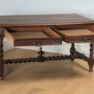 Antique French Provincial Carved Green Man Oak Library Desk Writing Table (Circa 1870)