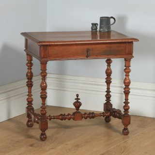 Antique French Walnut Occasional Side Hall Writing Lowboy Table (Circa 1870)