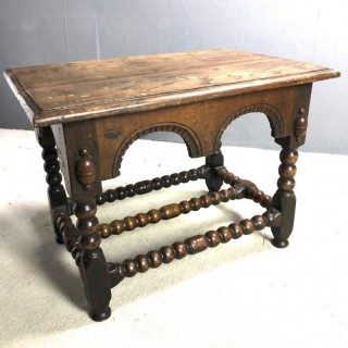 Continental oak small table or stool with well turned legs and stretches c1780