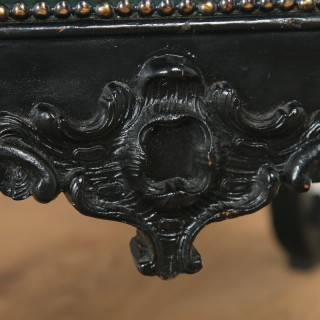 Antique English Victorian Mahogany Ebonised Carved Green Leather Coffee Table / Foot Stool (Circa 1890)