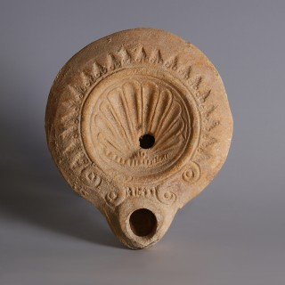 Roman Oil Lamp with Shell Motif