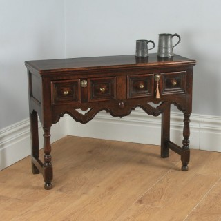 Antique English Victorian Jacobean Style Oak Geometric Dresser Base Sideboard (Circa 1860)