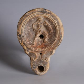 Roman Gladiator Oil Lamp