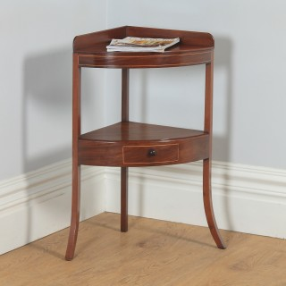 Antique English Georgian Regency Bow Front Mahogany & Inlaid Corner Table / Washstand (Circa 1810)
