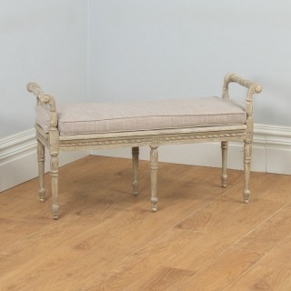Antique French Louis XVI Style Beech Painted Upholstered Duet Window Stool Ottoman Seat (Circa 1930)