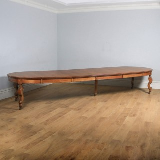 Antique English Victorian Extending 15ft Solid Oak Boardroom Dining Table Seats 16-18 People (Circa 1870)