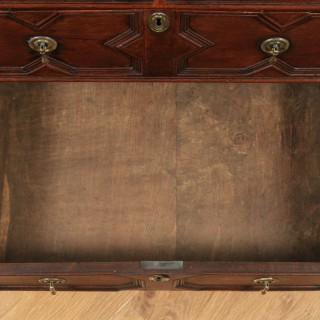 Small Antique English William & Mary 17th Century Oak Panelled Geometric Chest of Drawers (Circa 1690)