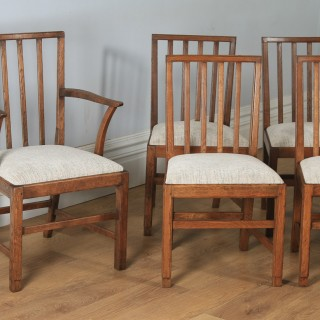 Antique English Arts & Crafts Set of 12 Twelve Oak Cotswold Foster & Sons Style Kitchen Spindle Back Dining Chairs (Circa 1930)