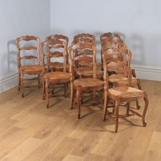Antique Set of 10 Ten French Louis XV Style Oak Ladder Back Kitchen Dining Chairs (Circa 1910)