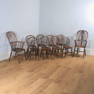 Antique English Set of 10 Ten Victorian Ash, Beech & Elm Windsor Stick & Hoop Back Kitchen Dining Chairs (Circa 1840)