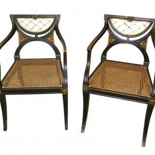 Regency 19th Century English Pair Of Desk Armchairs