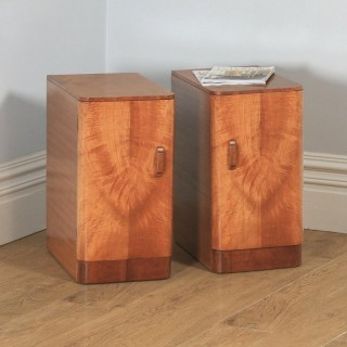 Antique English Pair of Art Deco Figured Mahogany Bedside Cupboards / Cabinets / Nightstands (Circa 1930)