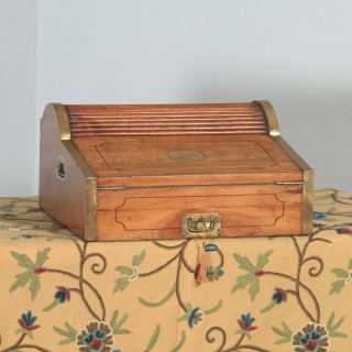 Antique Victorian Colonial Camphor Wood & Brass Rolltop Metamorphic Lap Box Writing Desk (Circa 1850)