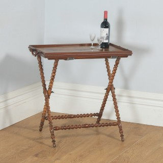 Antique Italian Victorian Sorrento Ware Olive Inlaid Wood Butlers Drinks Tray Table & Stand (Circa 1880)