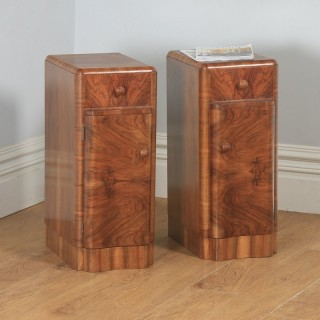 Antique English Pair of Art Deco Burr Walnut Serpentine Bedside Chests Cupboards Tables Nightstands (Circa 1930)