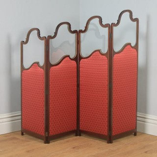 Antique English Edwardian Mahogany Upholstered Four-Fold Panel Dressing Screen Divider (Circa 1910)
