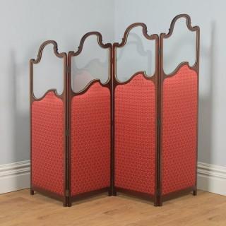 Antique English Edwardian Mahogany Upholstered Four-Fold Panel Dressing Screen Divider (Circa 1910)