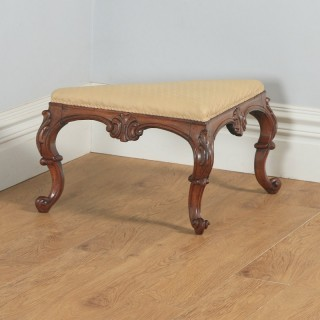 Antique English Victorian Mahogany Triangular Upholstered Corner / Foot Stool (Circa 1870)