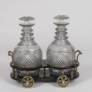 A Regency Papier-Mâché Decanter Wagon