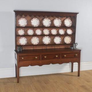 Antique English 19th Century Georgian Oak Shropshire Joined Low Dresser Base & Rack Sideboard (Circa 1800)