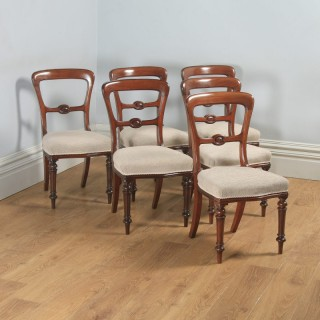 Antique English 19th Century Victorian Set of Six Walnut Balloon Back Dining Chairs (Circa 1880)