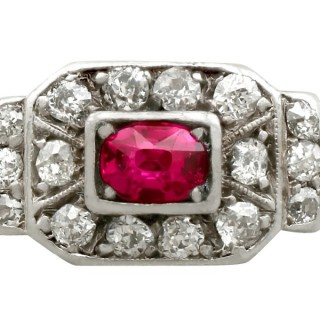 0.60 ct Ruby and 0.59 ct Diamond, 14 ct Yellow Gold Dress Ring - Antique Circa 1930
