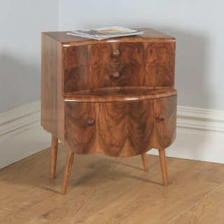 Antique English Art Deco Burr Walnut Bow Front Bedside Chest of Drawers (Circa 1930)