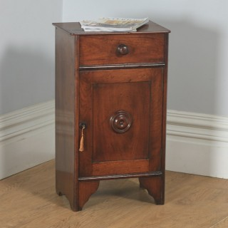 Antique French 3rd Republic Walnut Bedside Chest Pot Cupboard Night Stand Cabinet (Circa 1890)