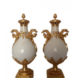 Pair Of French 19th Century White Marble And Ormolu Cassolettes